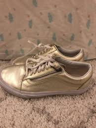 vans old skool zip laces light gold metallic leather vault lady sz 8 5 worn 1x