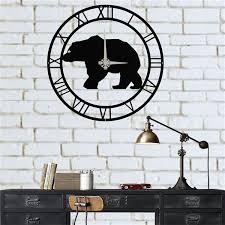 metal wall clock metal bear clock