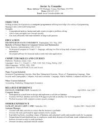 Objective In Resume For Computer Science cs resume Evolistco 55