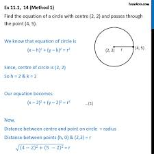 ex 11 1 14 equation of a circle with centre 2 2