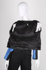 barbara bui leather biker jacket black blue