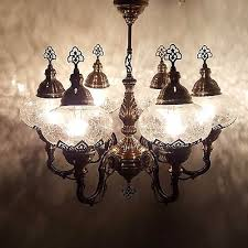 turkish moroccan large clear glass mosaic chandelier lamp light 6 bulb uk