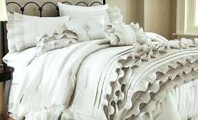 ruffle comforter pearl white set on pink full grey light