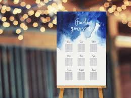 Picture Of A Watercolor Indigo Wedding Seating Chart Looks