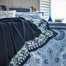 indigo blue paisley pattern bedding  echo jakarta at bedeck