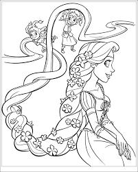 Tranh tô màu công chúa tóc mây Rapunzel - Wikichiase