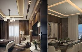 living room with furniture and ceiling with led lights