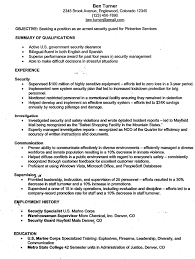 Security Guard Resume Objective Free Resume Templates 2018