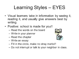 study skills seminar ppt  6 learning styles eyes visual