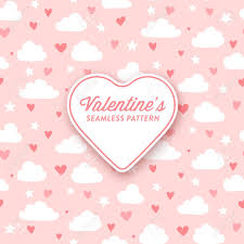 Girly Designs Cute Clouds And Hearts Pattern For Valentines Day Or Girly Designs