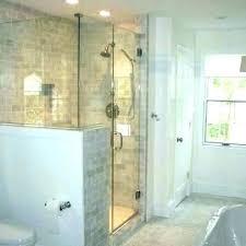 Walk in shower with half wall Bathroom Showers Pony Wall Shower Glass Half Wall Thebigbreakco Pony Wall Shower Glass Amazing Half Wall Bathroom Shower Pony Wall