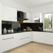 Modular Kitchen Handle Design Gorgeous Black Backsplash In A Stylish Modular Kitchen