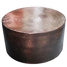 shani aluminium drum coffee table in black bronze tables