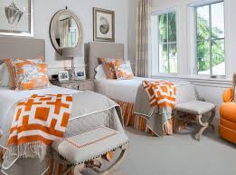 gray and orange bedroom. an orange rug would be another great accent. twinned gray bedroom and b