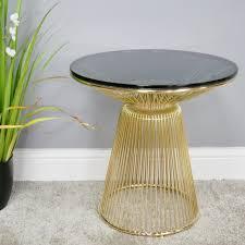 glasetal round gold side table