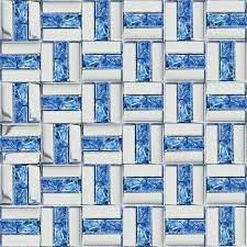 tst sea blue glass mosaic tile chrome finish wave backing backsplash wall decor tstgt242