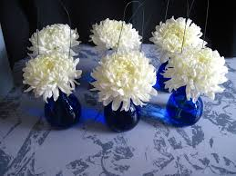 White wedding flowers, blue and white wedding, blue wedding, football mums,  poofy