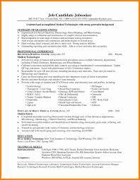 Medical Technologist Sample Resume Curriculum Vitae Radiation