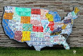 on license plate map wall art with license plate map of the usa