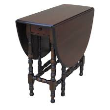 antique and vintage oval double drop leaf dining table painted with dark brown color with carving wooden legs ideas