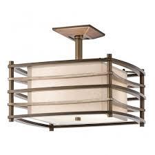 contemporary geometric bronze semi flush ceiling light with inner shade