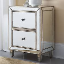 mirrored nightstand cheap with double drawers for bedroom furniture ideas