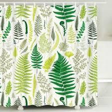 green leaves shower curtain set plant bathroom curtain anti bacterial waterproof