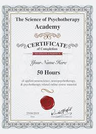 Certificate The Science Of Psychotherapy
