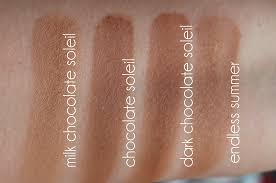 too faced chocolate soleil bronzer. in this second set of swatches we have the three chocolate bronzers (which smell like by way - you must sniff them) and endless summer too faced soleil bronzer