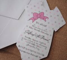 Onesie Baby Shower Invitations Baby Girl Shirt With Ribbon Bow Baby Shower Invitation Ebay