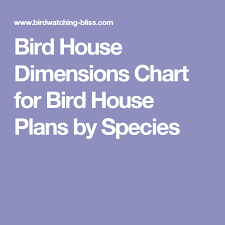 Bird House Dimensions Chart For Bird House Plans By Species