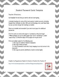 passwords template student password cards template by amanda haughs tpt