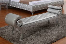 silver color modern tufted leather bench for bedroom with for leather bedroom bench bedroom furniture