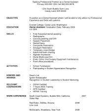 Template Dental Resumes Samples Assistant Resume Template Writing