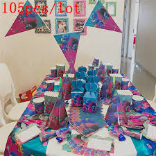 Us 18 53 19 Off 105cs Lot Party Supplies Trolls Theme Birthday Party Boy Girls Love Birthday Party Bags Event Party Supplies Decorations In