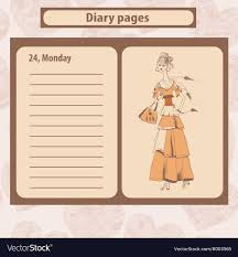 diary pages diary or note pages with of young royalty free vector image