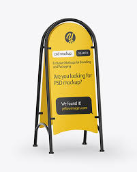 A smart layer for the label helps to apply your design. Street Stand Mockup In Outdoor Advertising Mockups On Yellow Images Object Mockups