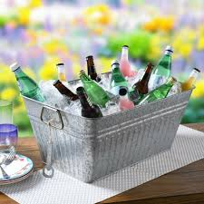 details about new better homes gardens galvanized tub beverage cooler ice bucket bottle open