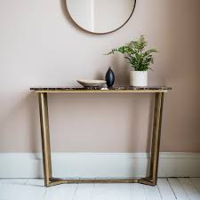 gatsby marble console table brown  gold  console  hall tables