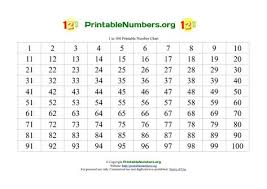 Large Printable Numbers 1 100 Number Chart 100 Chart