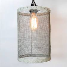 mesh wire barrel pendant light fixture aged galvanized look old fashioned style round barrel