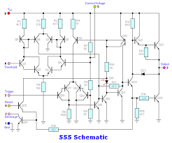 50 555 circuits the schematic of the 555 shows the two output transistors can be active when q20 turns on and starts to turn on q24 while q22 is still turned on via q21