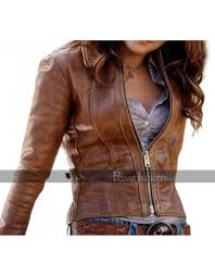 jennifer lopez brown distressed leather jacket