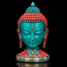 Buddha Head Decor Turquoise Buddha Bust Statue Buddha Head Tibetan Nepal Home Decor