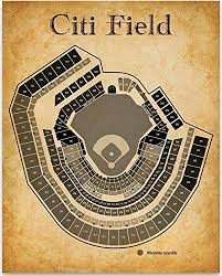 Citi Field Baseball Stadium Seating Chart Art Print 11x14 Unframed Art Print Great Sports Bar Decor And Gift Under 15 For Baseball Fans