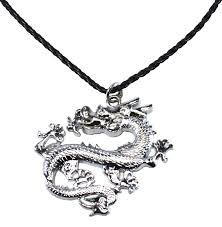 summer models bdj stainless steel chinese dragon pendant pleather necklace 16 2 inches dg010 53703