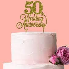 Fancy Pants Store 50th Wedding Anniversary Cake Topper Gold Glitter