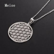 yiwu meise snless steel sacred geometry jewelry flower of life laser cut necklace