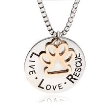 sunshine live love rescue letter love word dog lover necklace cat dog paw prints pendant necklace