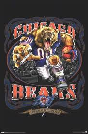 Sports Poster Chicago Team Pictures Bears Mascot Nfl Da Framed Bears Football Posters